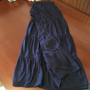 Navy Blue Tiered Maxi Skirt